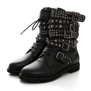 Laides Punk Womens Martin Strapply Bottines talon Chaussures à Buckle plat Dame Rivet AwSTqAR