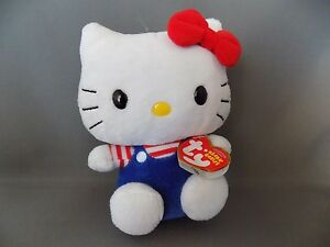 Hello-Kitty-in-Blue-Overalls-TY-Original-Beanie-Baby-Tush-Tag-2009-6-034-Tall