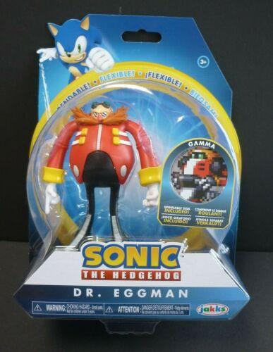 "SONIC THE HEDGEHOG Dr Eggman Jakks curvabile 4/"" Figura con disco Gamma"