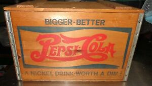 Big Old Vintage PEPSI COLA Wooden Soda Pop Crate Carrier Box Wood Case With Lid