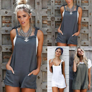 903437adc413 Image is loading Women-Dungaree-Straps-Jumpsuits-Overalls-Shorts-Pants- Romper-