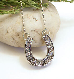 HORSE-amp-WESTERN-JEWELLERY-JEWELRY-LADIES-CRYSTAL-HORSESHOE-NECKLACE-SILVER