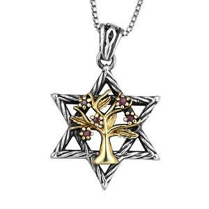 Pendant-Magen-Star-of-David-Garnet-Gemstone-Silver-925-Gold-9K-Jewelry-1-09-034
