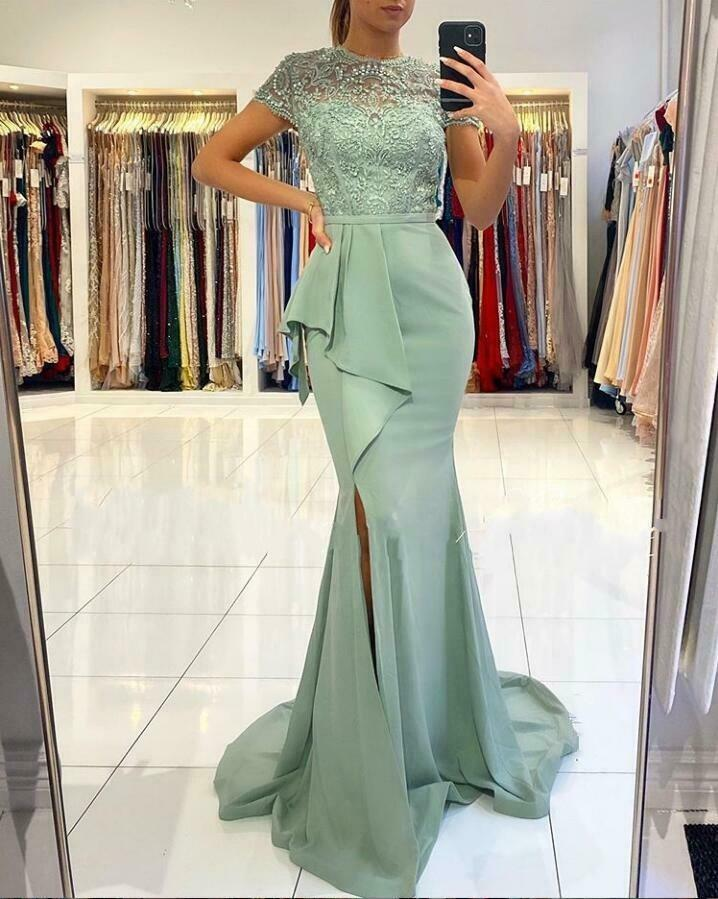 Elegant Jewel Split Mermaid Evening Dress Long Party Cocktail Pageant Prom Gown