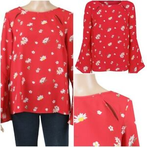 NEW-Ex-Store-Ladies-RED-Floral-Print-Semi-Sheer-Flute-Sleeve-Top-Size-8-24