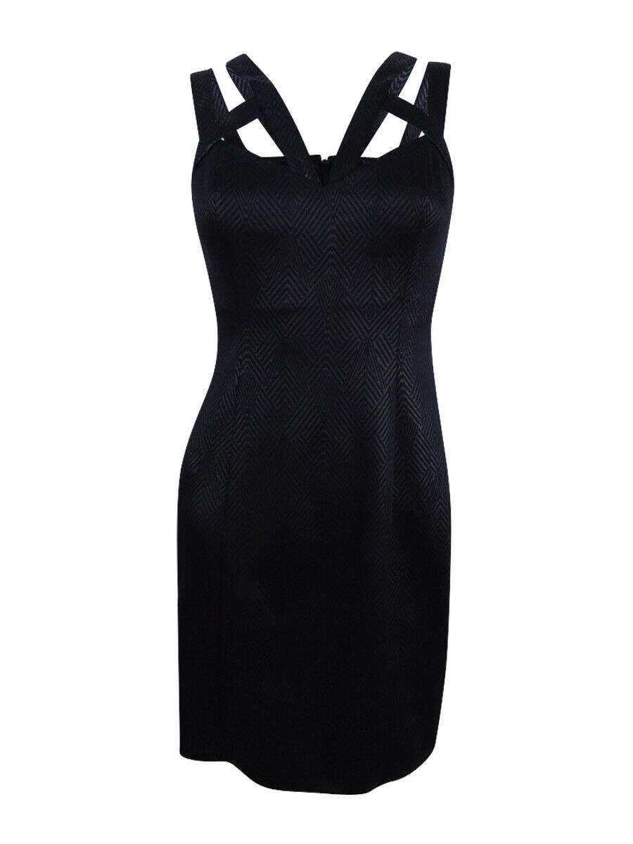 Guess Woherren Caged Embossed Bodycon Dress (6, schwarz)