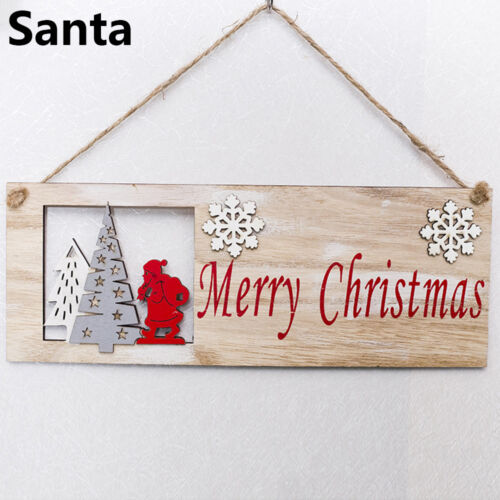 Christmas Tree Square Hollow-out Wooden Pendant Door Window Hanging Decoration A