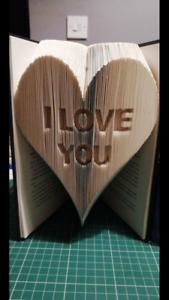 I Love You Heart Folded Book Art Folding PATTERN ONLY #334