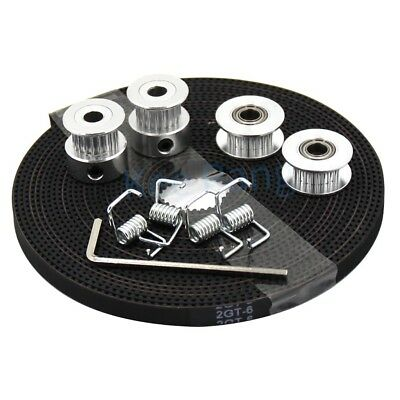 2m belt 6mm width kit for 3d printer reprXD 2Pcs gt2 timing pulley 20t 5//8mm
