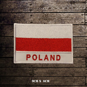 POLAND-Flag-With-Name-Embroidered-Iron-On-Sew-On-Patch-Badge-For-Clothes-Etc