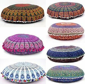 Large Round Decorative Pillow : Large Round Mandala Meditation Floor Pillows Indian Tapestry Bohemian Pouf Throw eBay