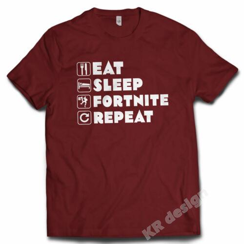 Eat Sleep Fort Repeat T-shirt ps4 xbox battle gamer Game Tshirt UNISEX KIDS