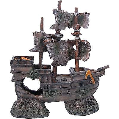 Aquarium Deko Piratenschiff Schiffswrack Aquarien Dekoration Boot 19,5x7,5x20 cm