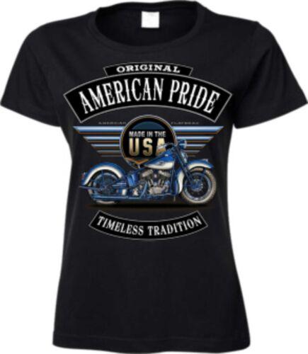 Frauen T Shirt in schwarz mit einem Biker-/&Choppermotiv Modell Flatty Blau
