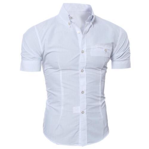 Luxury Men/'s Slim Fit Shirt Short Sleeve Stylish Formal Casual T-shirt Tops Good