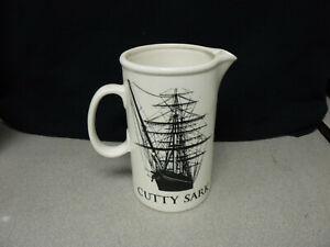 Cutty-Sark-Scots-Whisky-Pub-Jug-Bar-Pitcher-w-Tall-Ship-Double-sided