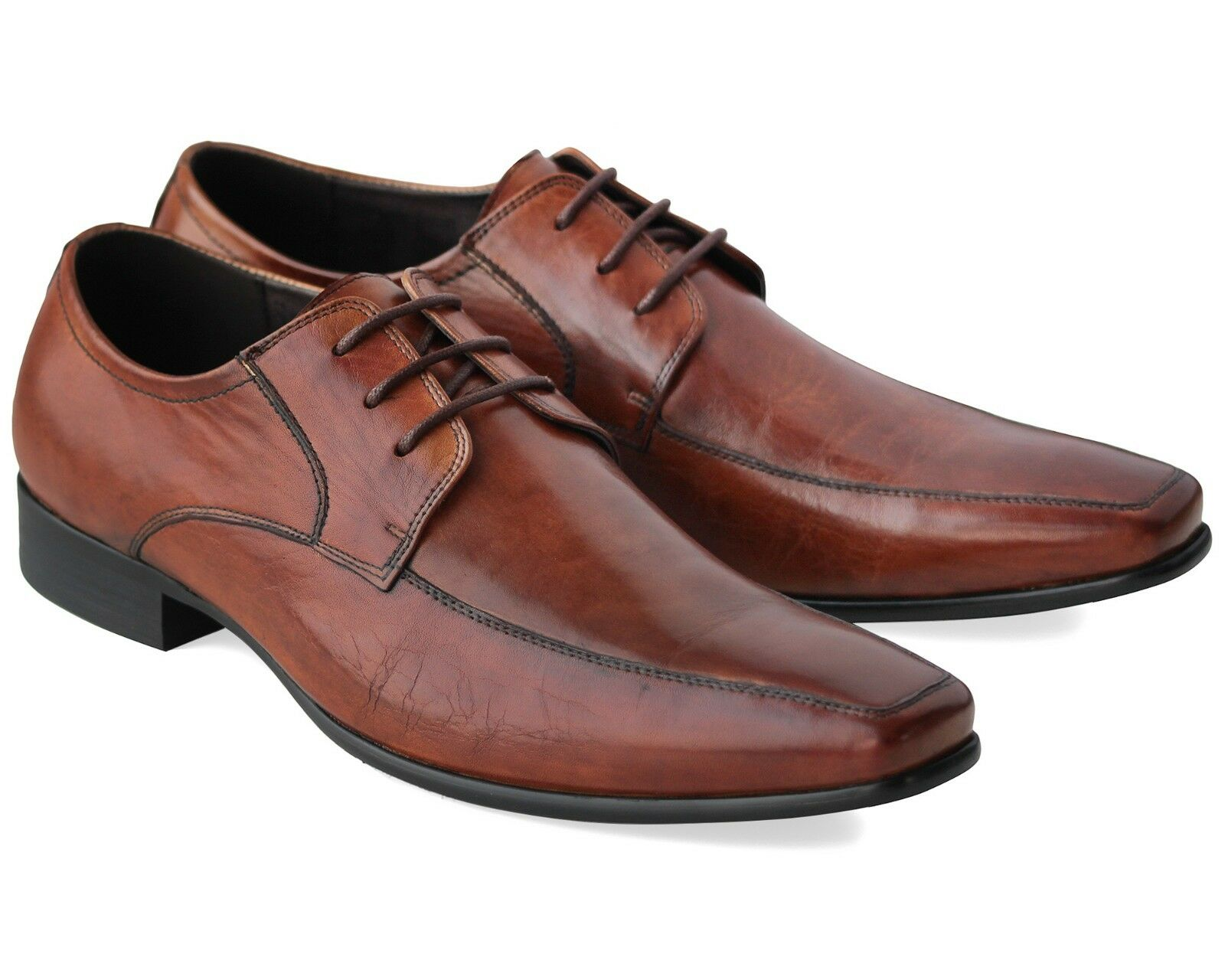 211 NEW MENS BROWN SMART SHOES LACE UP REAL LEATHER CASUAL WORK