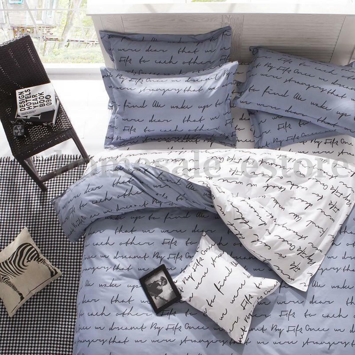 Love Letter Zip Open Single Queen King Size Bed Set Pillowcase