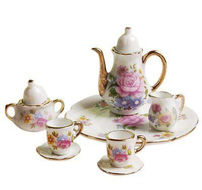 Porcelain Miniature Teapot Set Dollhouse Kitchen Accessories B7O8