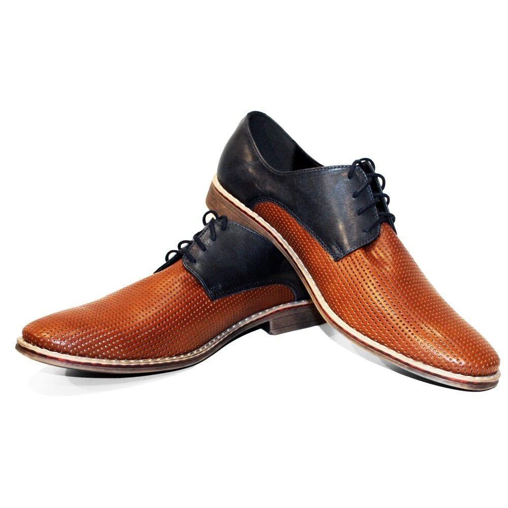 miglior prezzo Modello Neto - - - Handmade Coloreful Italian Leather Oxford Dress scarpe Marrone  in vendita scontato del 70%
