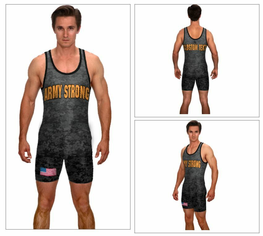 Army powerlifting singlet, includes custom text