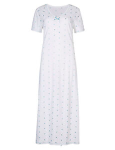 M & S LA MAISON DE SENTEURS PURE COTTON EMBROIDERED HEART LONG AQUA NIGHTDRESS