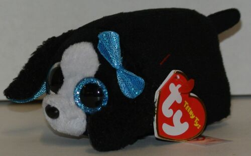 New! 2017 TY Teeny Tys MARCI the Black & White Dog w/blue bow 3 Stackable!