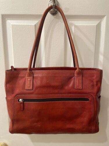 FOSSIL Leather Shoulder Bag / Laptop Bag - Brick R