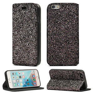sports shoes b3dfa 1a6b9 Details about iPhone 6 Plus/ 6S Plus Bling Glitter Shiny Flip Book Cover  Stand Wallet Case