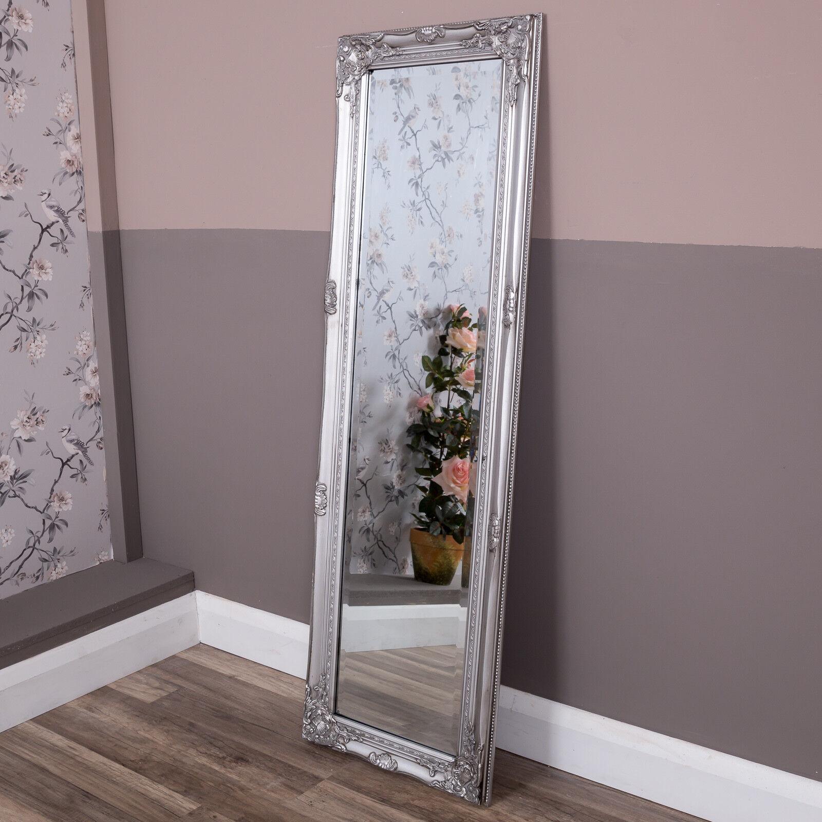 Tall slim silver wall mirror shabby vintage chic French ornate bedroom hallway