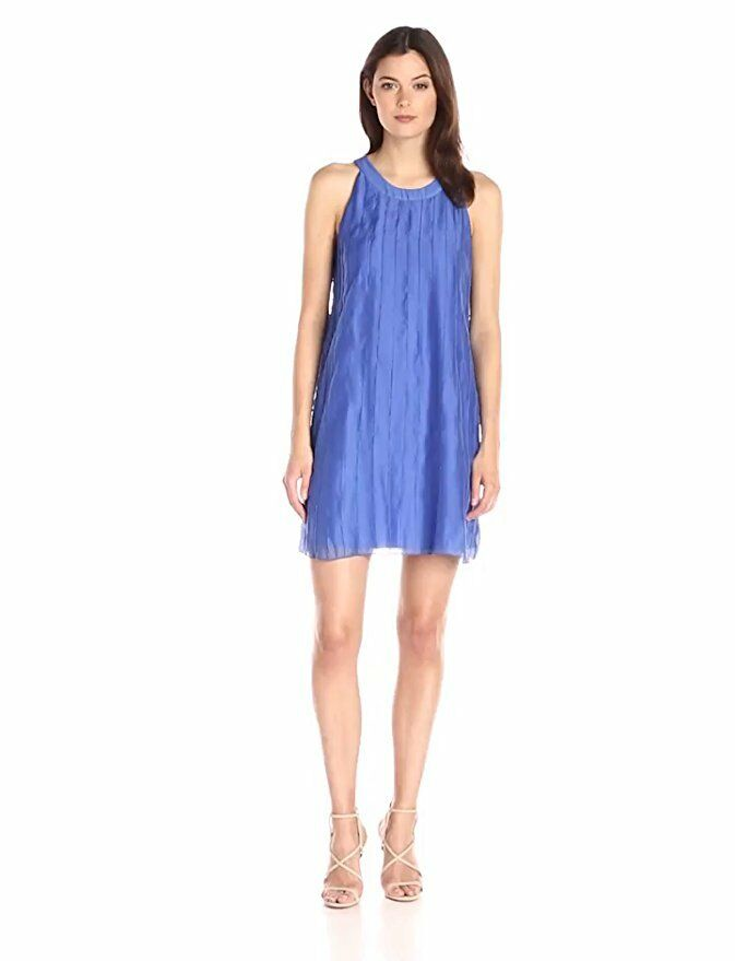 NIC & ZOE Woherren Sleeveless Pintuck Batiste Shift Sleeveless Dress Blau Größe 16