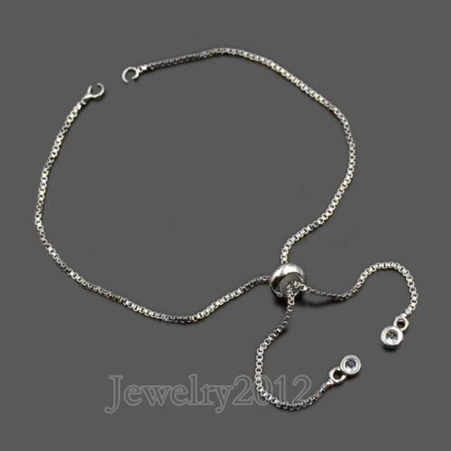 AAA Plaqué Argent Boîte Chaîne Connecteur pour Bracelet Perles Curseur Réglable Or