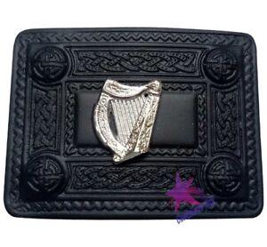 Cc Écossais Kilt Boucle De Ceinture Harpe Irlandaise Badge 4 Dôme Jet Finition Noir/boucles-afficher Le Titre D'origine