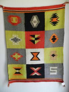 Antique-Paneled-or-Multi-Pattern-C-1910-Navajo-Germantown-Blanket-28-034-x37-034-Nice