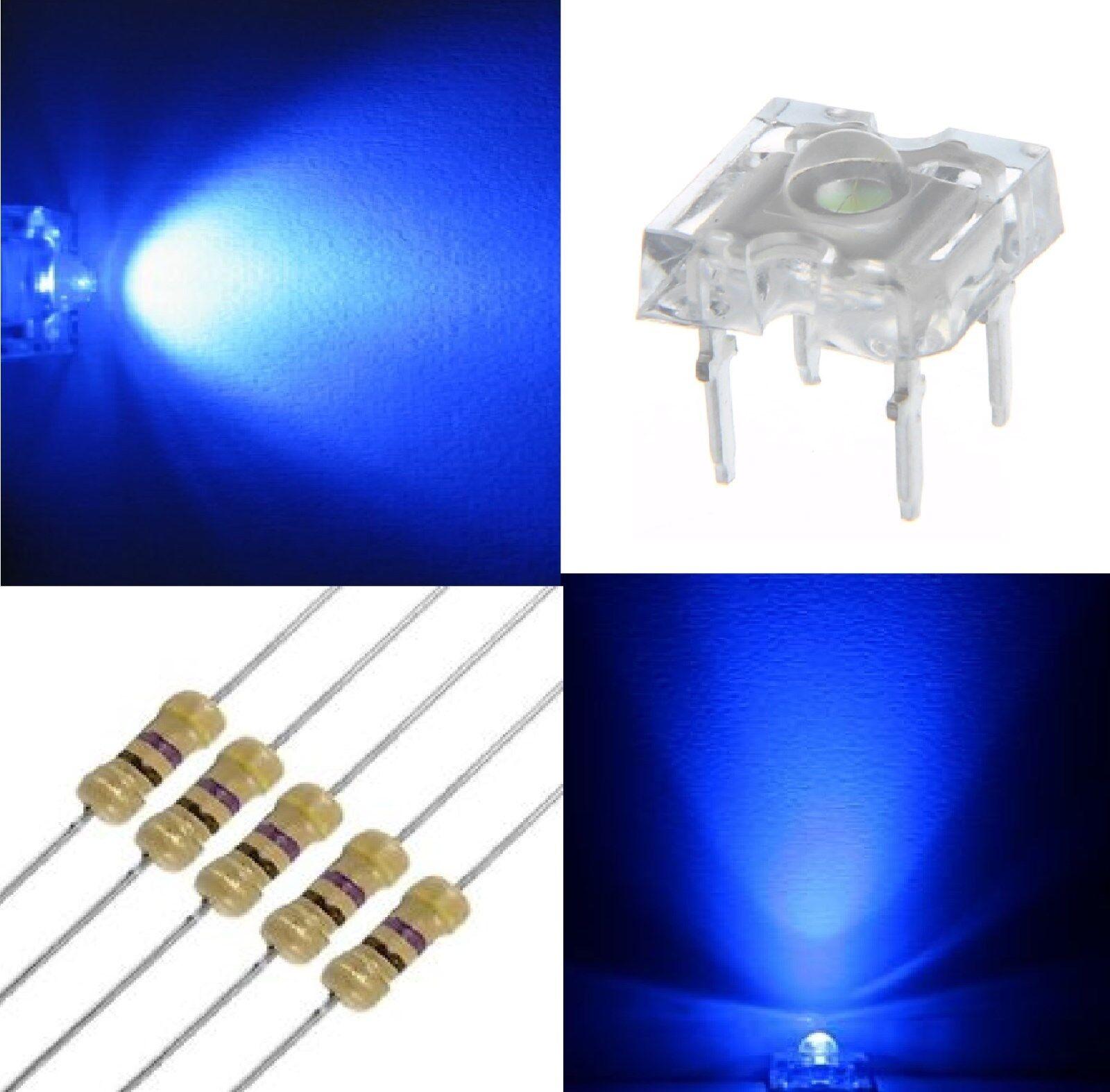 200 diodi led PIRANHA PIRANHA PIRANHA SUPERFLUX 5 mm blu + 200 resistenze 1 4W 470 OHM b61c65