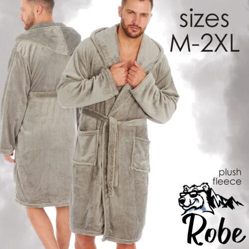 Mens Hooded Dressing Gown Bath Robe Fleece Plush Soft Nightwear Lounge M-XXL UK