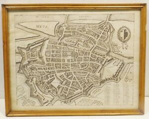 """"""" Metz Sur Mosella Fluvivs - Vieux Carte Géographique """" Graphique En Cadre"""