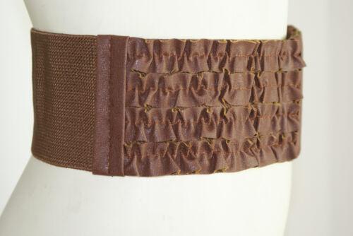 "Women/'s Wide Leather BROWN Cummerbund Ruffle Ribbon Fashion Belt 3 1//2/""  S M"