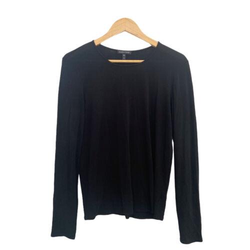 Eileen Fisher Shirt Size Medium Womens Black Silk Turtleneck Top Long Sleeve
