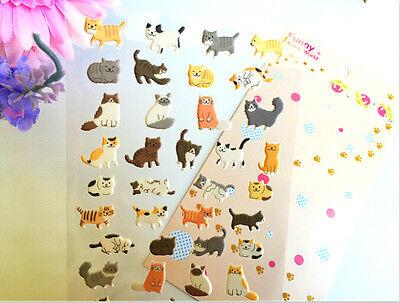 Neuheit Katze Kätzchen Aufkleber-Sammelalbum-Karte DIY Tagebuch schwarz weiß süß