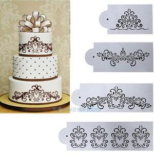 4x Spitze Hochzeitstorte Ausstechform Schablone Dekor Tortenrand