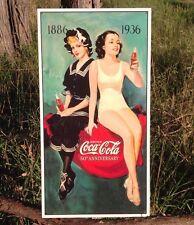 COKE Coca Cola Sign Tin Vintage Garage Bar Decor Old 1886-1936 50th Anniversary