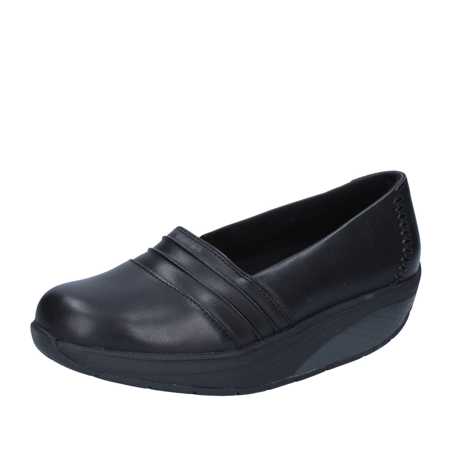 donna MBT 37 EU slip on mocassini nero pelle performance BY262-C