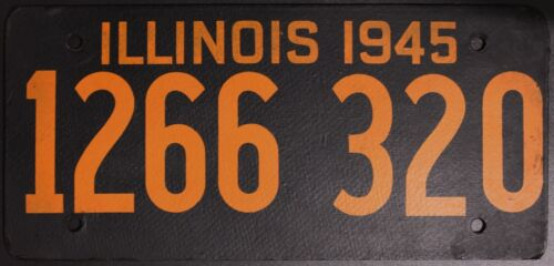 Original VINTAGE Nummernschild License Plate USA Illinois 1945 Plaque Targa