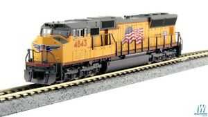 Kato-176-8609-1-N-EMD-SD70M-Union-Pacific-034-Flag-034-4843-w-DCC-Installed