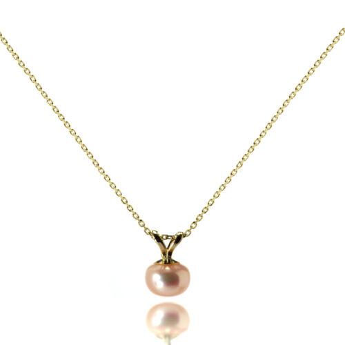 De 9 quilates de oro Set De 6 Mm Perla Colgante Collar 4 Colores