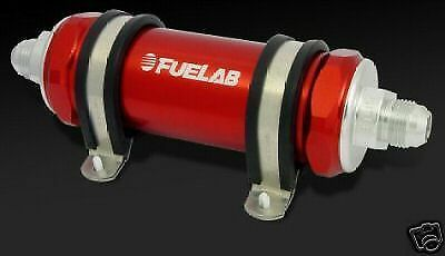Fuelab In-line Fuel Filter 82801-6AN 10 Micron Long Body 82801-2 RED