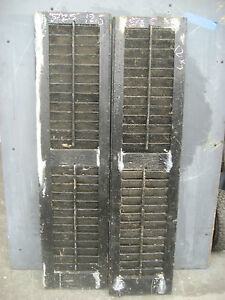 Pair antique victorian era louvered house window shutters for Victorian era windows