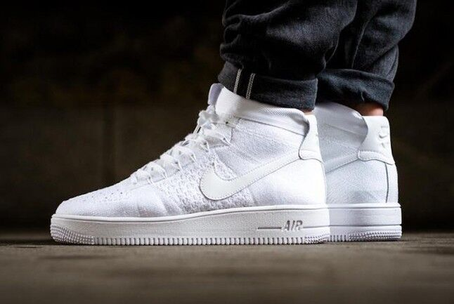 Nike Air Force 1 Ultra Flyknit Mid 'Triple Blanc'Taille 9 EUR 44