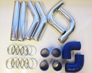 63mm-2-5-034-Universal-Intercooler-Pipework-Kit-FMIC-BLUE-HOSES-DIY-Custom-Pipe